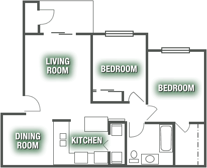 Apartments - Two Bed 1 Bath Apartment Plan C