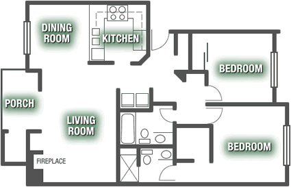 Apartments - Two Bed 2 Bath Apartment Plan E