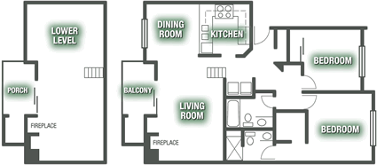 Apartments - Townhome 2 Bed Apartment Plan G